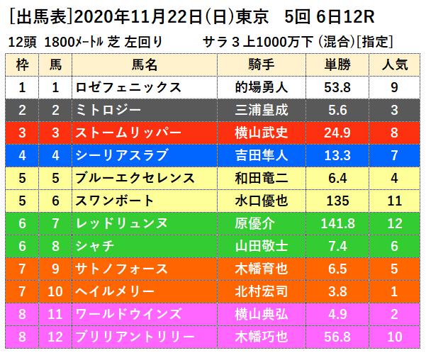 11月22日東京最終12レース出馬表