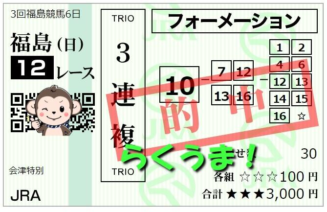 11月15日福島最終12レース3連複当たり馬券