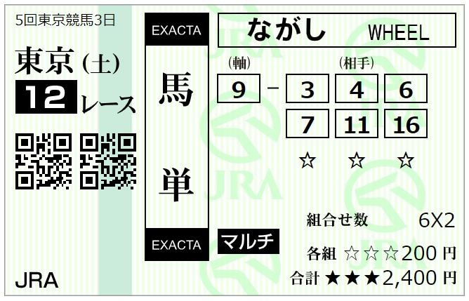 11月14日東京最終レース馬単馬券