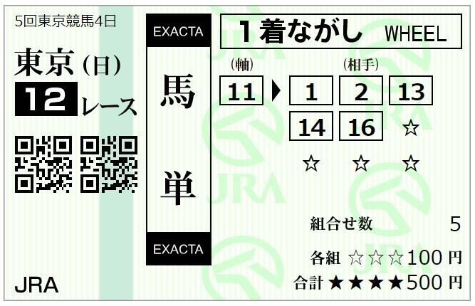 11月15日東京最終12レース馬単馬券