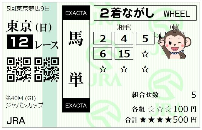 ジャパンカップ馬単馬券