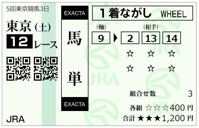 11月14日東京最終レース馬単馬券2