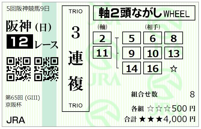 京阪杯3連複馬券2