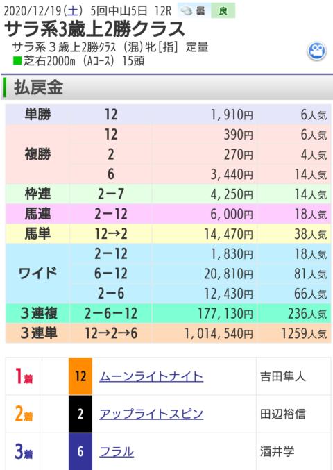 12月19日中山最終レース結果