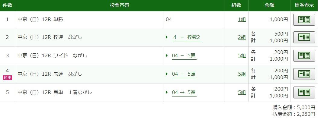 112月13日中京最終レース馬券