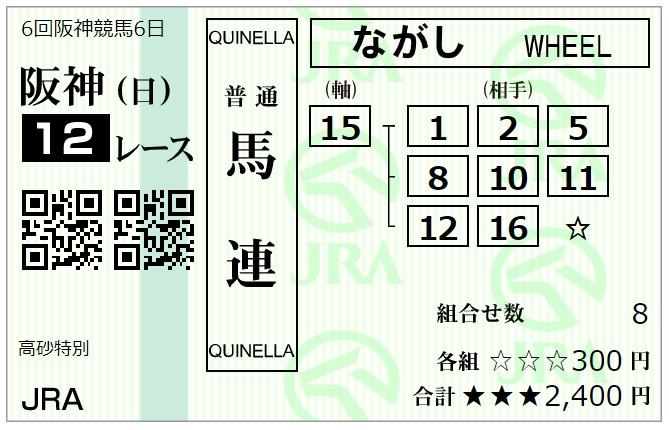 12月20日阪神最終レース馬連馬券2