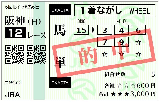 12月20日阪神最終レース馬単馬券