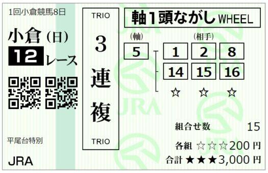 小倉最終レース3連複馬券