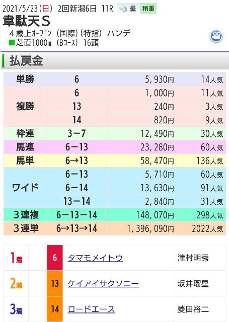 【レース結果】5月23日新潟11レース