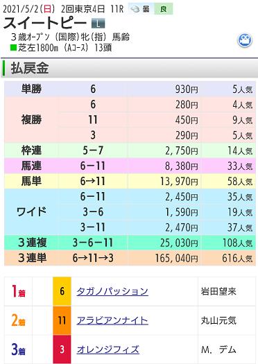 【レース結果】5月2日東京11レース