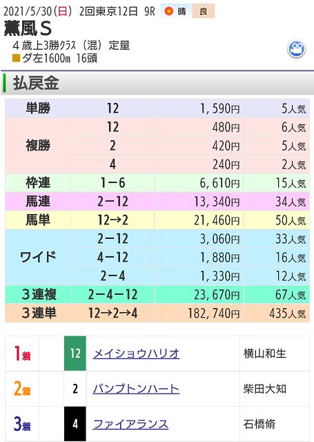 【レース結果】5月30日東京9レース