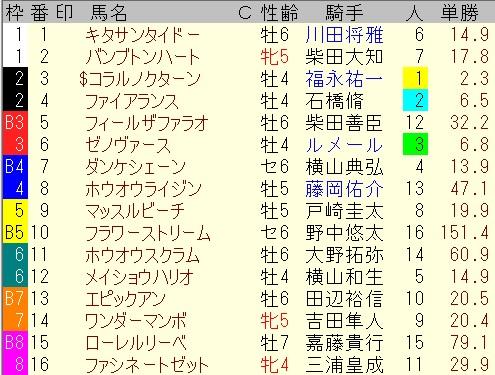 出馬表【5月29日東京9レース】