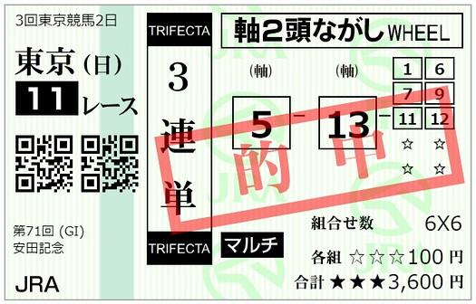 【的中】3連単流し馬券【安田記念】