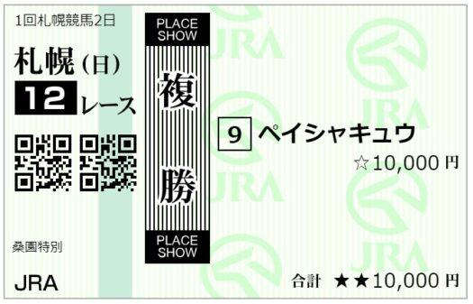 複勝馬券【6月13日札幌12レース】