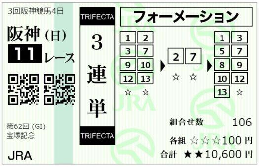 3連単馬券【6月27日宝塚記念】