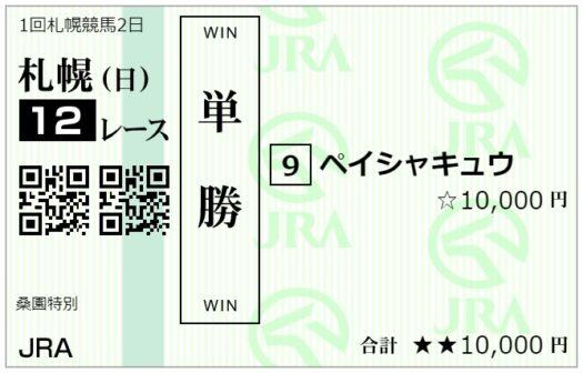 単勝馬券【6月13日札幌12レース】