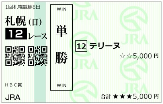 単勝馬券【6月27日札幌12レース】