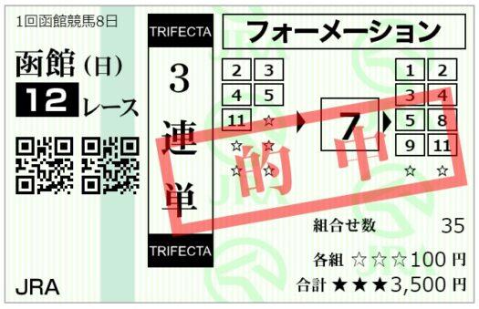【的中】3連単馬券【7月25日函館12レース】