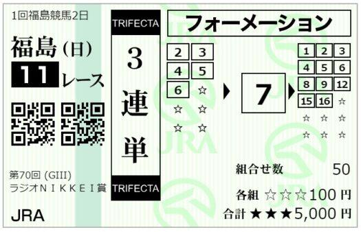 3連単馬券【7月4日ラジオNIKKEI賞】1