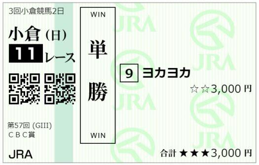 単勝馬券【7月4日CBC賞】