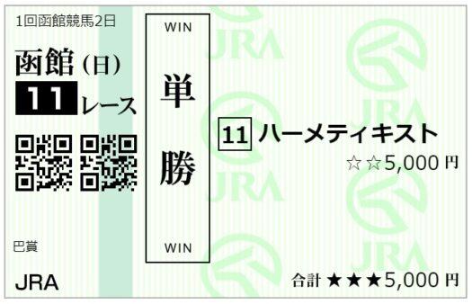 単勝馬券【7月4日函館11レース】
