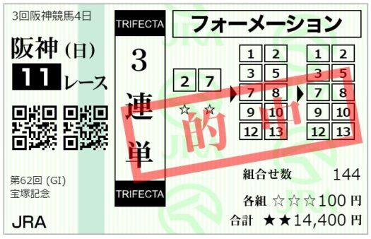 【的中】3連単馬券【6月27日宝塚記念】